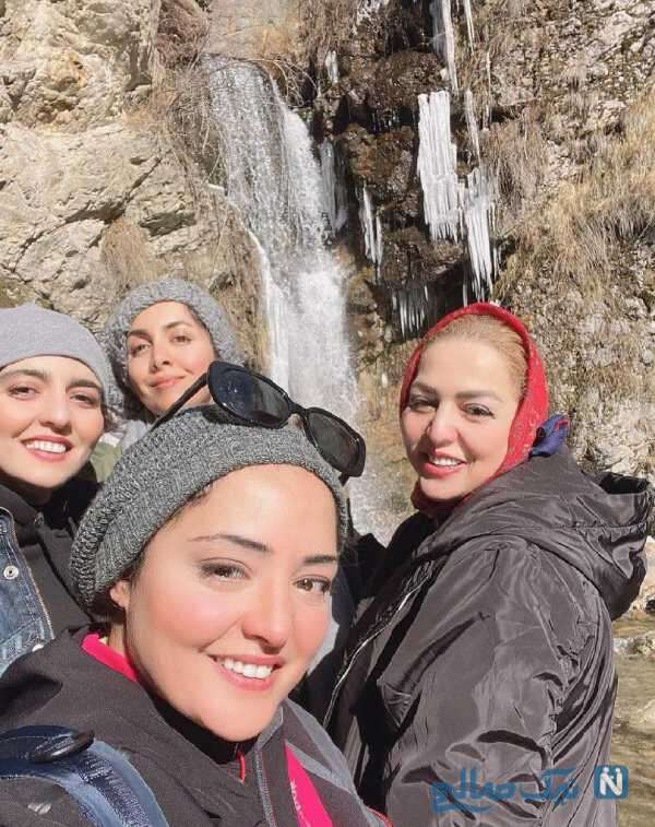 کوهنوردی نرگس محمدی همراه مادر و خواهرش