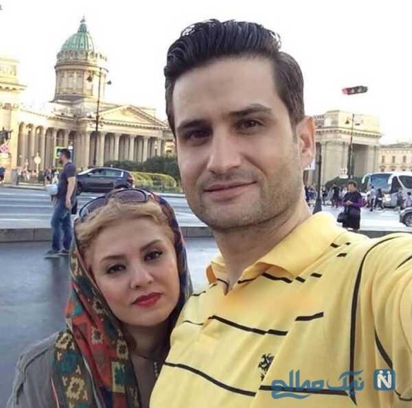 پویا امینی و همسرش در خارج از کشور