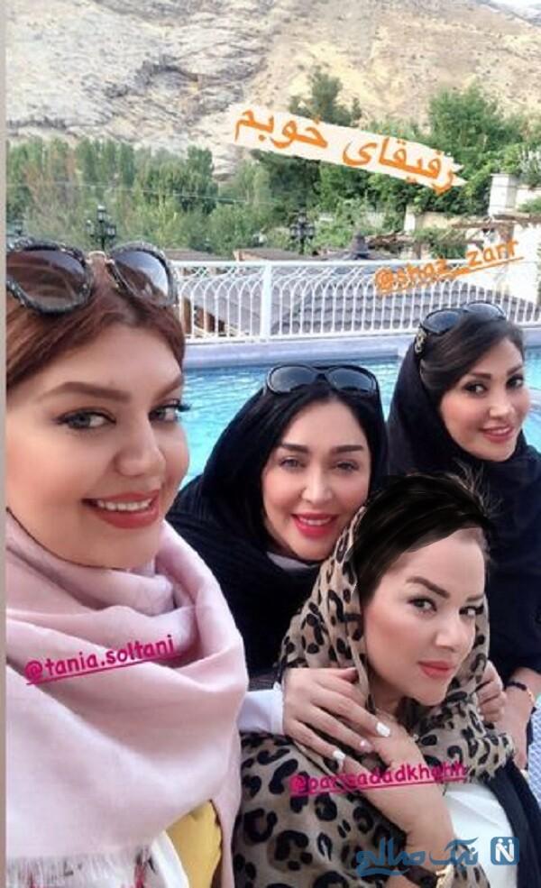 سارا منجزی پور و دوستانش لب استخر