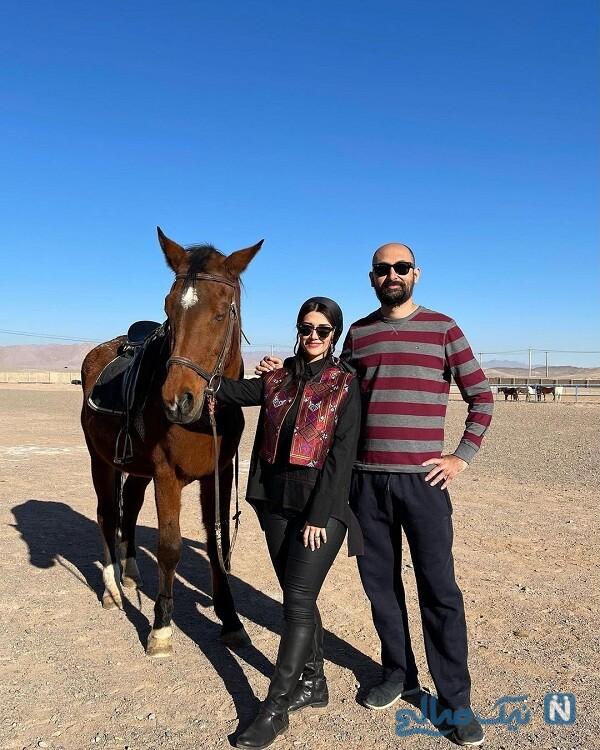 تصاویر نیلوفر استخری و همسرش درحال اسب سواری