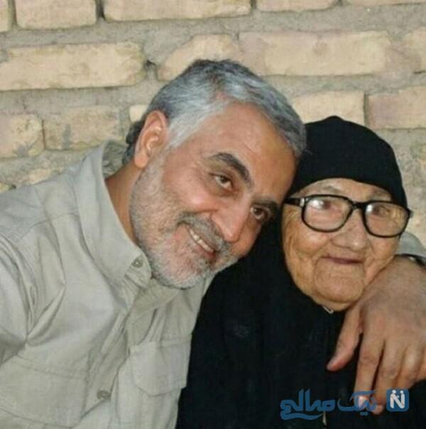 تصویری از سردار سلیمانی و مادرش