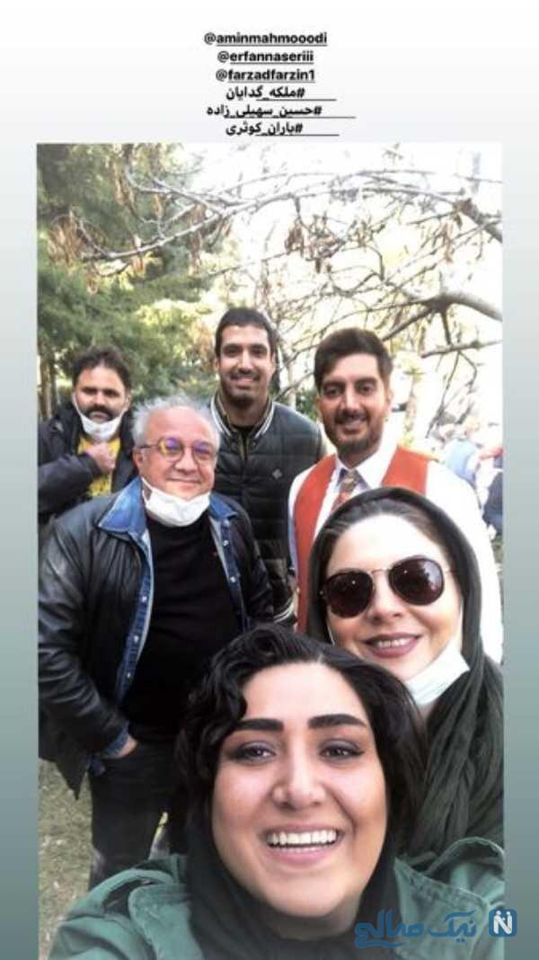 سلفی باران کوثری با بازیگران ملکه گدایان