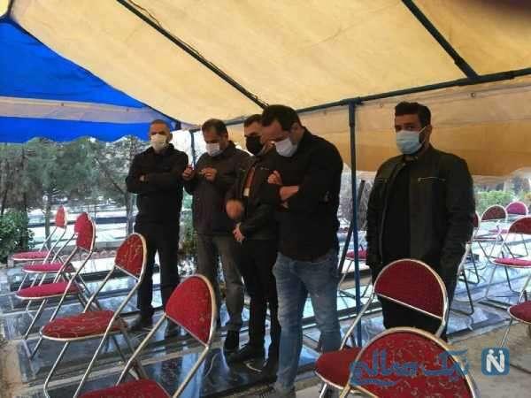 علی کریمی در مراسم تشییع بازیگر مشهور