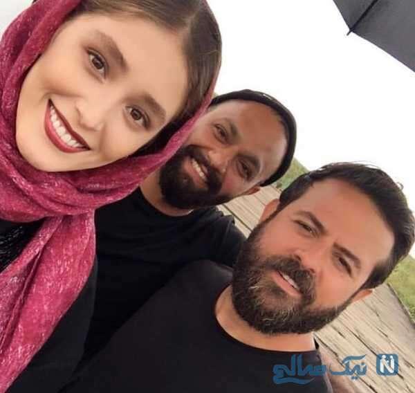 صابر ابر و هومن سیدی در کنار فرشته حسینی
