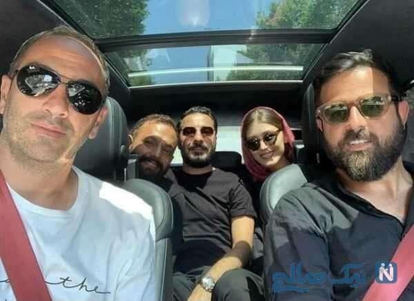 فرشته حسینی و هومن سیدی در کنار بازیگران سریال قورباغه