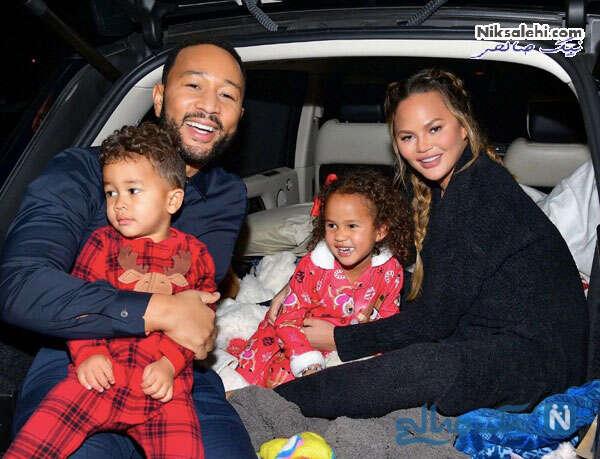 مدل معروف زن و فرزندانش