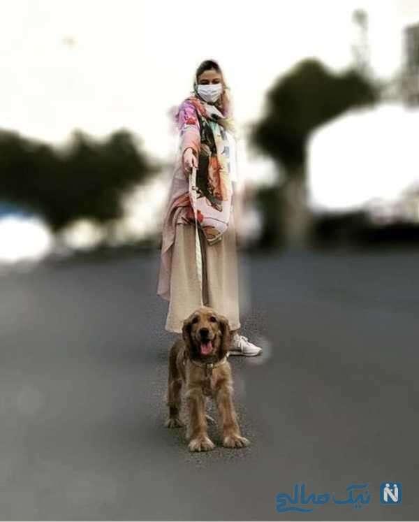 ماهور الوند بازیگر ایرانی و سگ بامزه اش
