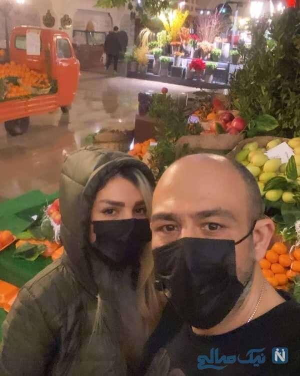 مهران غفوریان و همسرش در بازار میوه