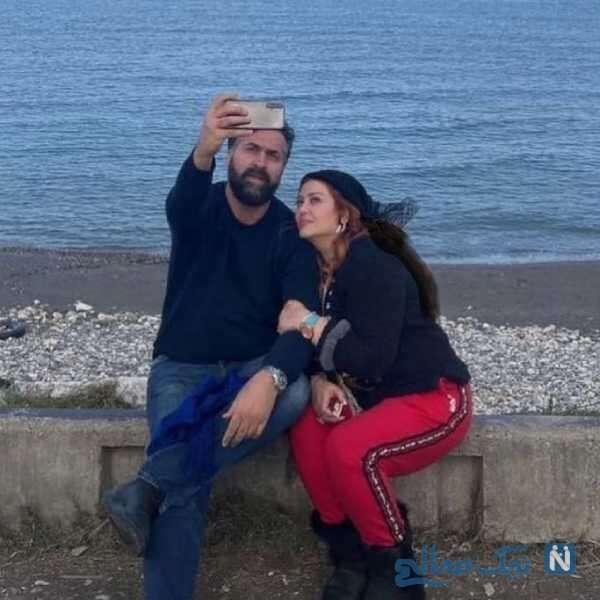بهاره رهنما و همسرش در کنار دریا