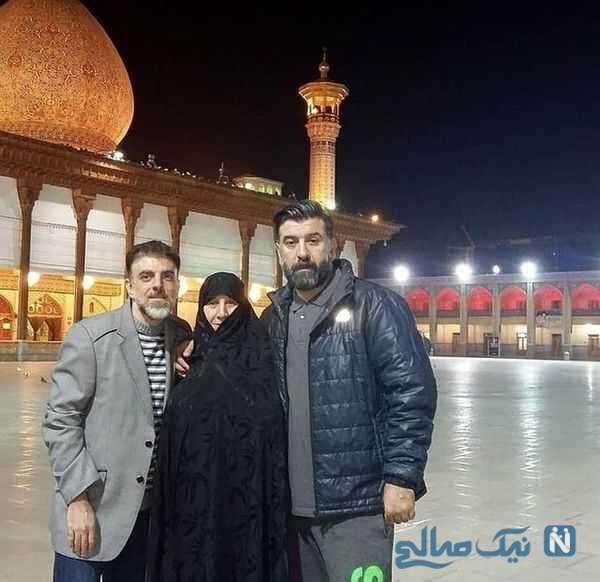 علی انصاریان با مادر و برادرش در زیارت