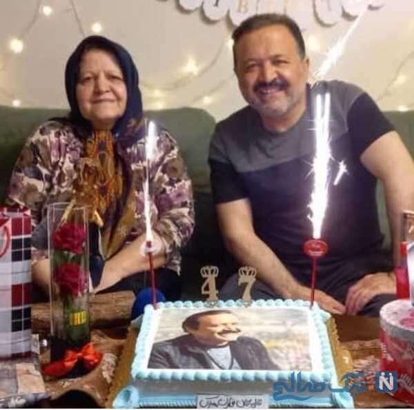 جشن تولد 47 سالگی علی صالحی در کنار مادرش