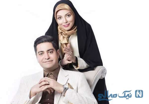 آزاده نامداری مجری ایرانی و همسرش