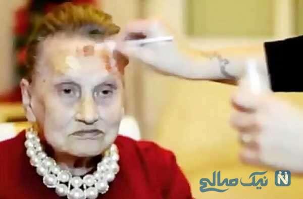 تصاویر زیبا و دیدنی از آرایش مادر بزرگ ۸۰ ساله توسط نوه اش