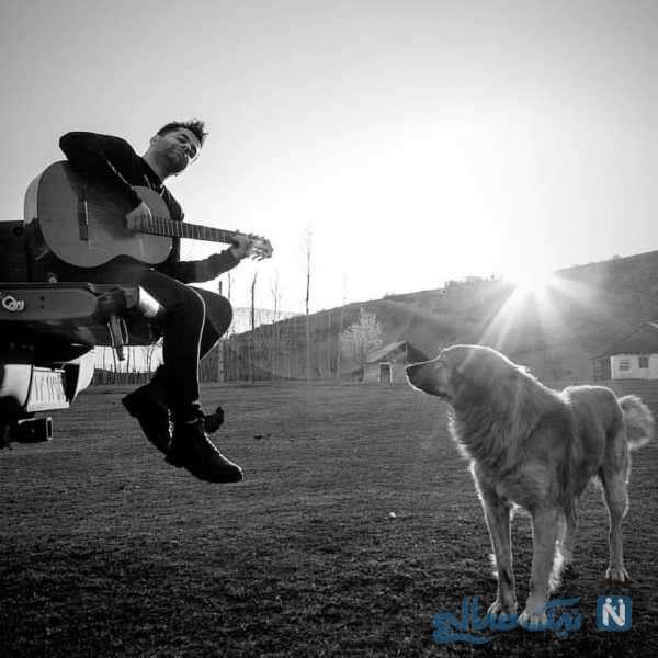 گیتار زدن رضا بهرام در دل طبیعت