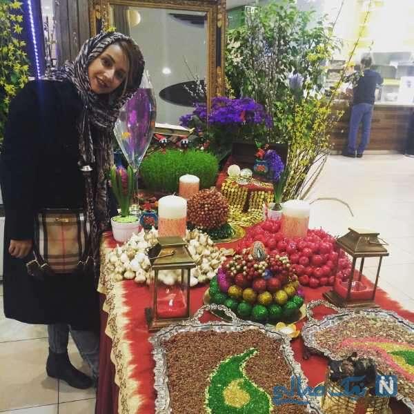 بازیگر ایرانی شبنم قلی خانی کنار سفره هفت سین
