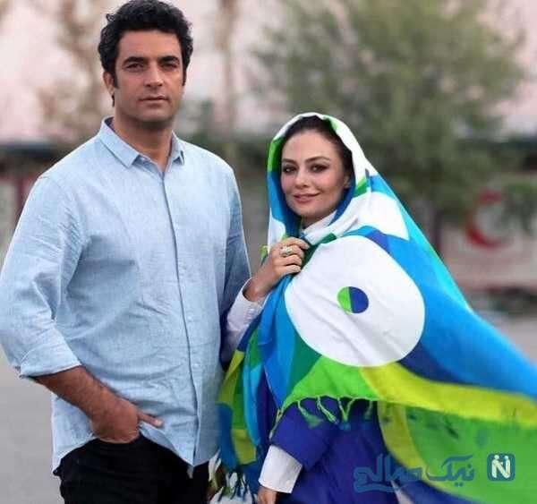 منوچهر هادی در کنار همسرش یکتا ناصر