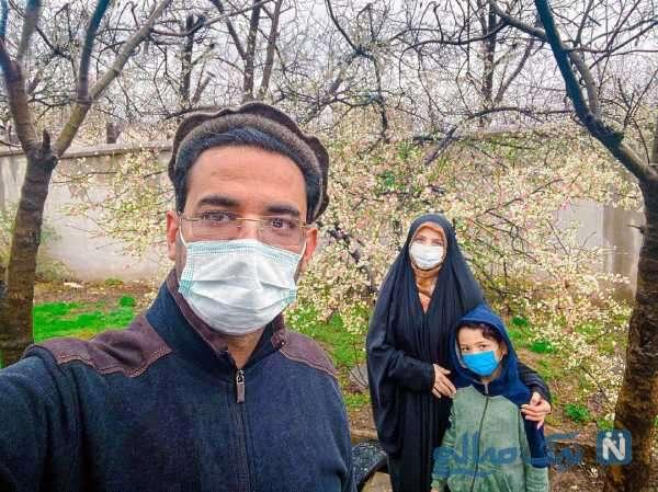 پیاده روی آذری جهرمی با همسر و پسرش