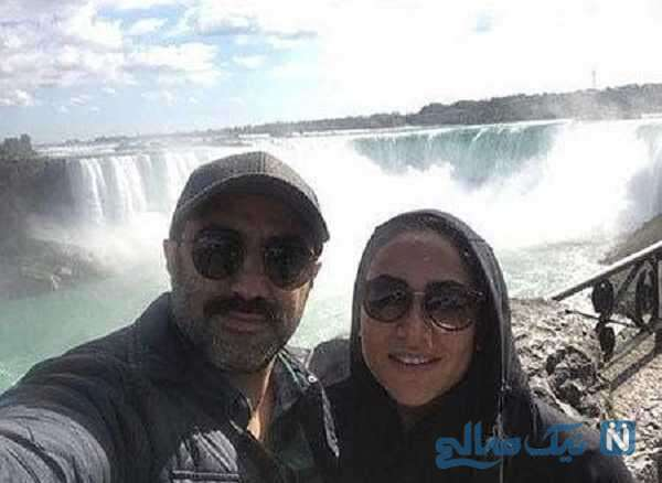 محسن تنابنده و همسرش کنار آبشار نیاگارا