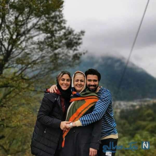 نیلوفر شهیدی و مادرش و همسرش