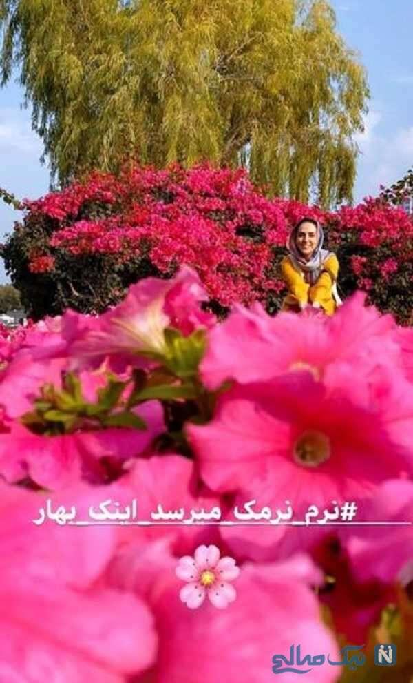 سوگل طهماسبی میان گل های بهاری