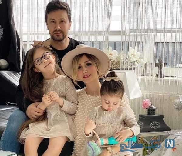 تصویری از شاهرخ استخری با همسر و دخترانش