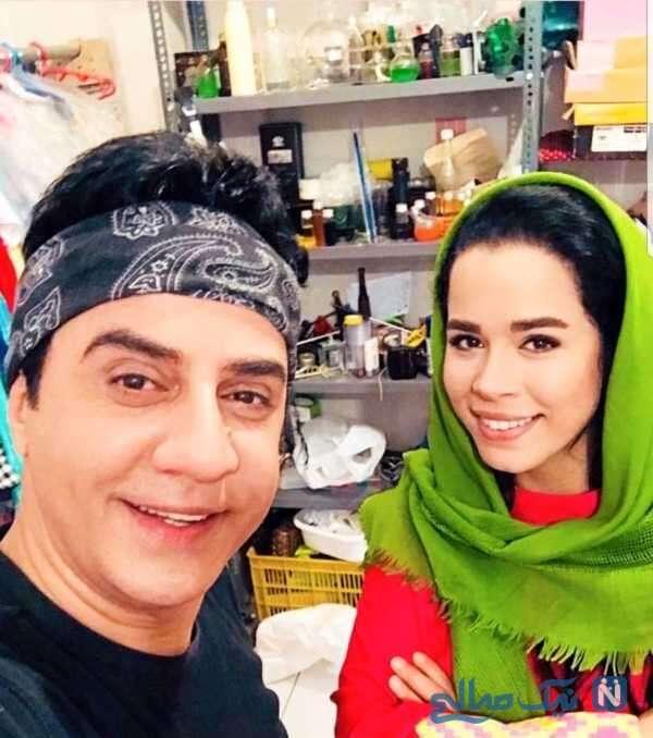 ملیکا شریفی نیا و عمو پورنگ
