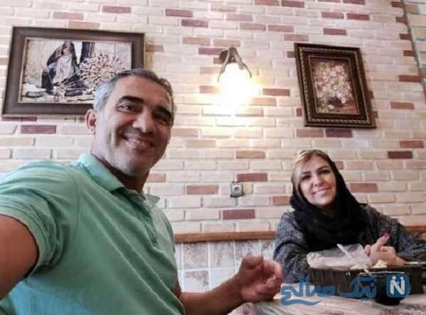 احمدرضا عابدزاده و همسرش در رستوران