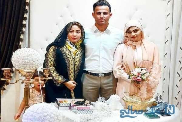 مرد جوان در کنار همسرانش