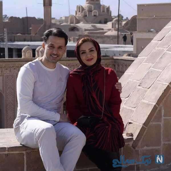 مهدی توتونچی مجری ورزشی و همسرش
