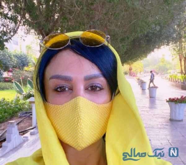 ست زرد شال و ماسک فلور نظری