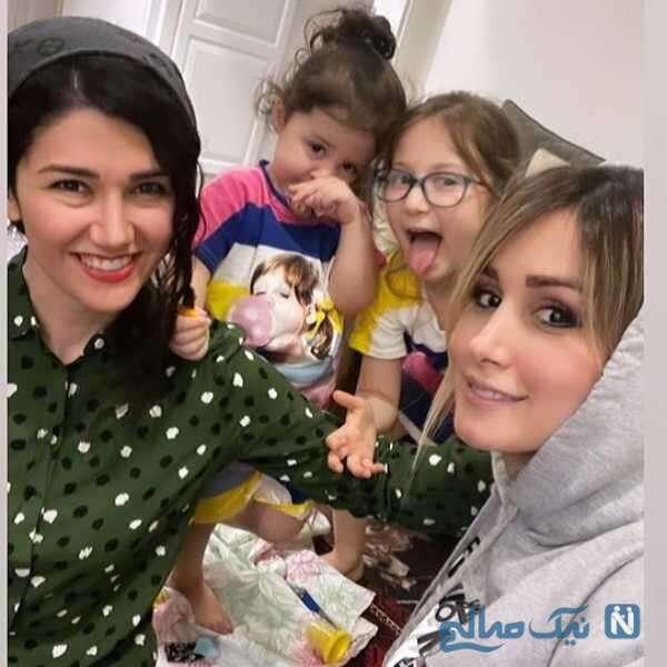 دختران شاهرخ استخری در کنار عمه نیلوفر