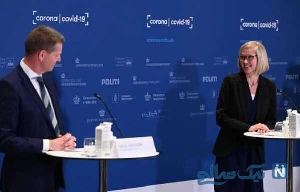 لحظه بیهوش شدن خانم تانیا اریکسن مسئول ارشد بهداشت دانمارک