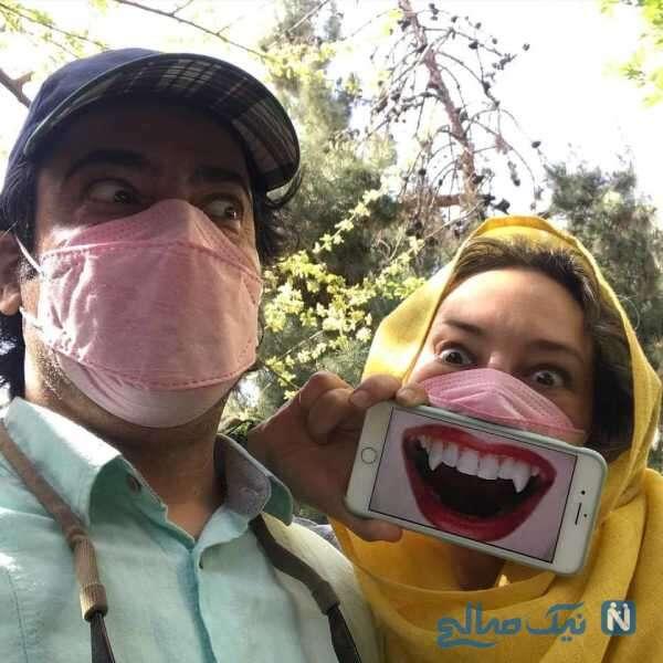 سلفی خنده دار نیما فلاح و همسرش