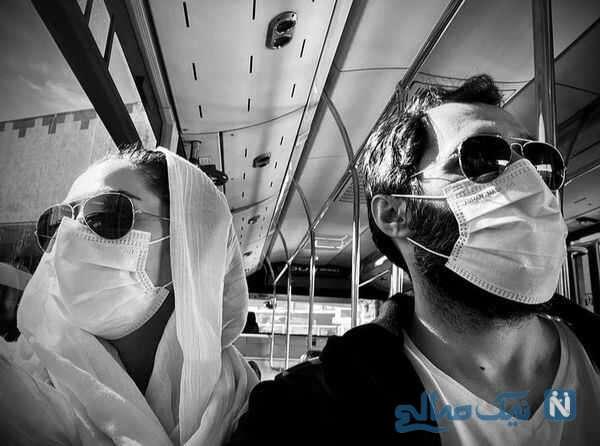ست ماسک و عینک هادی کاظمی و همسرش