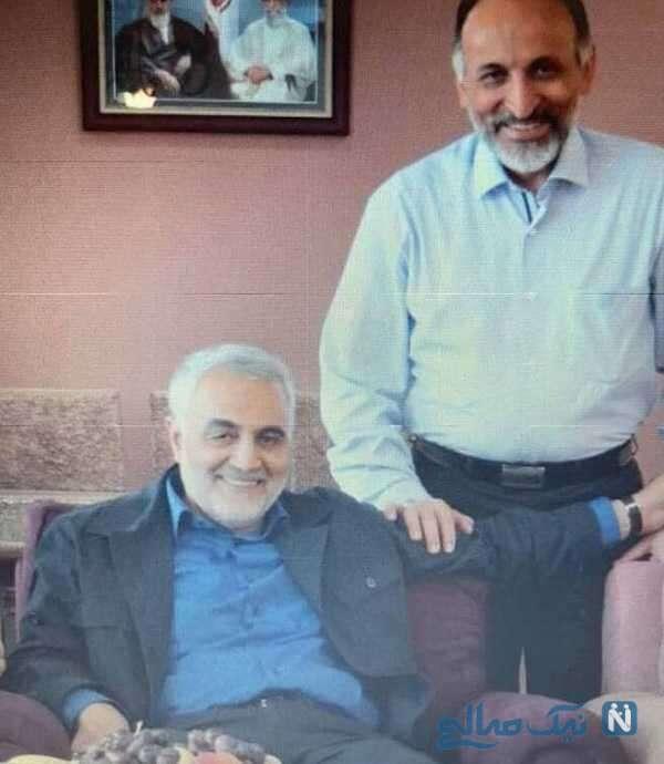 شهید سلیمانی در کنار جانشین فرمانده قدس سپاه