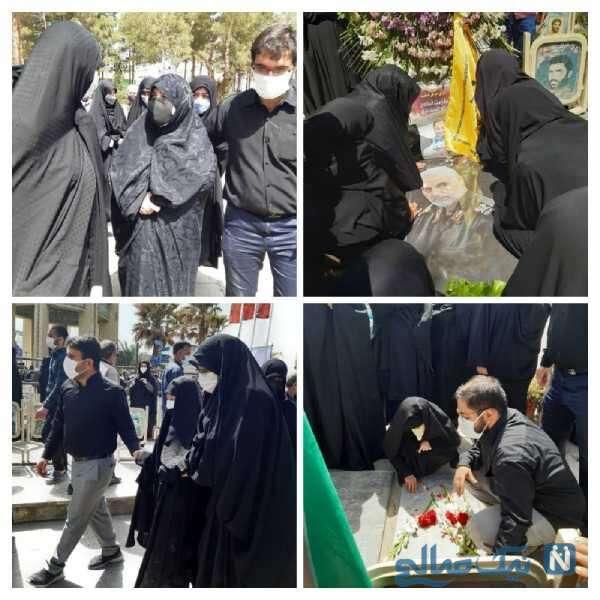 خانواده سردار حجازی در مراسم تدفین