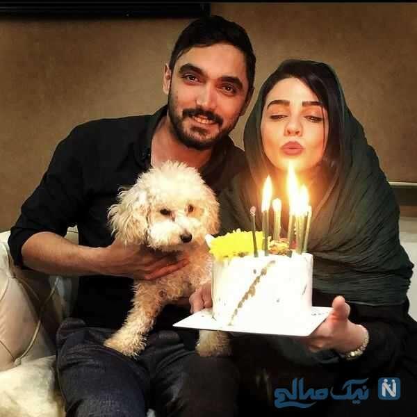 جشن تولد سیما خضرآبادی کنار همسرش
