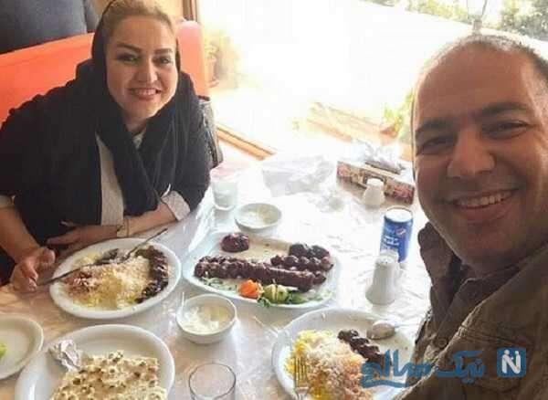 علی اوجی با مادر زنش در رستوران