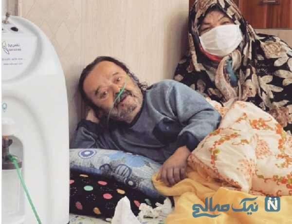 اسدالله یکتا کنار همسرش بعد از ترخیص از بیمارستان
