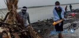 اجساد رها شده قربانیان کرونا در رودخانه گنگ هندوستان به ساحل رسید