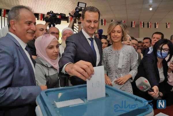 رای دادن بشار اسد وهمسرش اسما