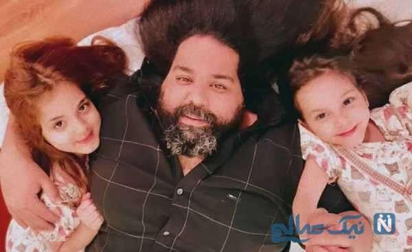 عکس جالب رضا صادقی با دخترانش