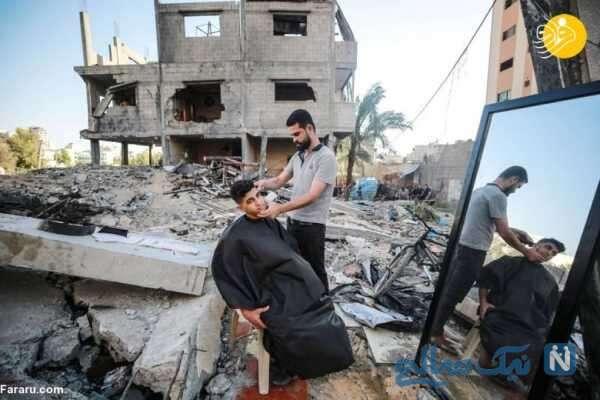 آرایشگری در میان ویرانههای غزه