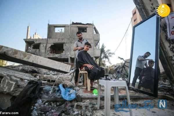 آرایشگری کردن مرد فلسطینی