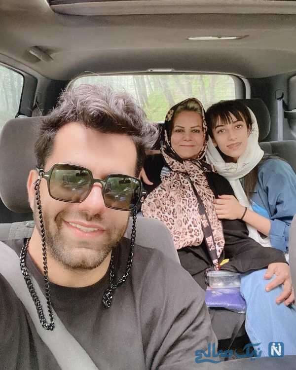 سلفی رضا بهرام با خواهر و مادرش