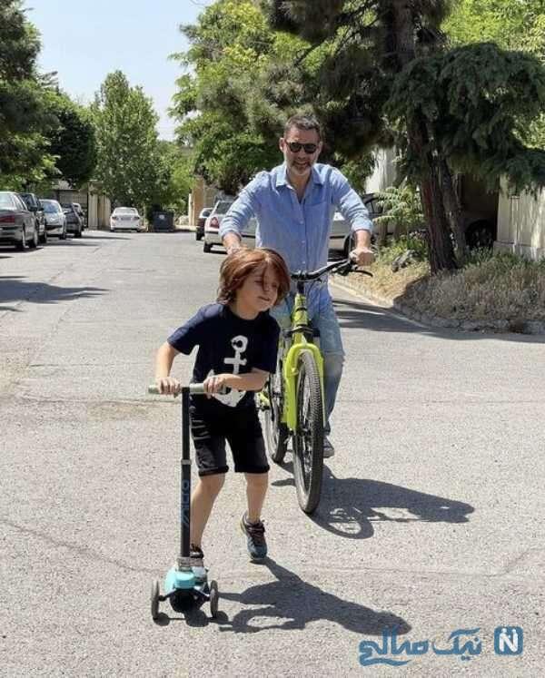 دوچرخه سواری پیمان معادی و خواهرزاده اش
