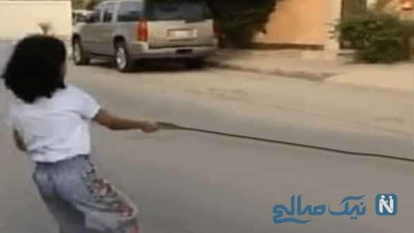 حیوان خانگی خطرناک دختر عربستانی