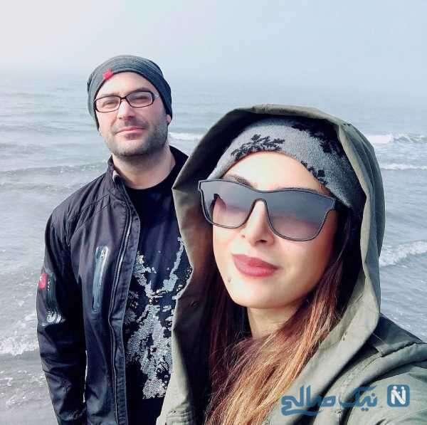 حدیثه تهرانی و همسرش لب دریا