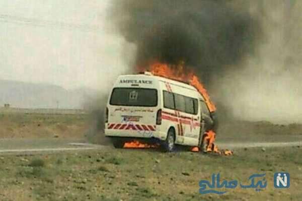آتش گرفتن وحشتناک آمبولانس