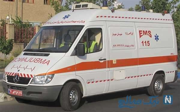 آتش گرفتن وحشتناک آمبولانس هنگام انتقال بیمار